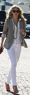 AnnaLynne McCord Wears White Jeans and Orange Peep Toe Pumps in Malibu