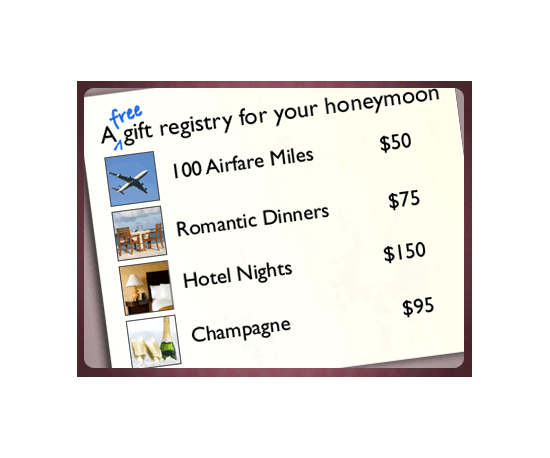 Honeymoon registries