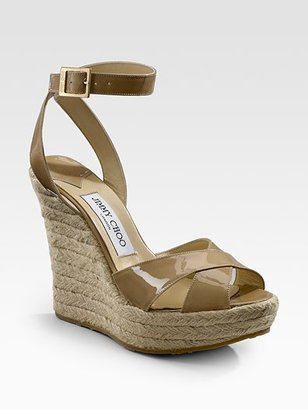 Jimmy Choo Patent Espadrille Wedge