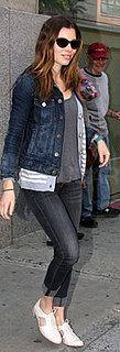 Jessica Biel Wears Stuart Weitzman Lace Up Shoes in NYC