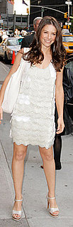Evangeline Lilly Wears Lace Dress to Letterman