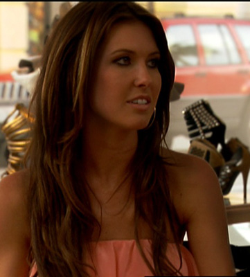 Audrina Patridge Wears Peach Amanda Uprichard Strapless Dress on The Hills