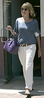 Heidi Klum Wears White J Brand Pants in LA