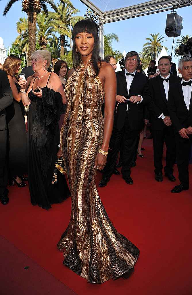 Naomi Campbell knows how to work it, sparkly Cannes-style in Roberto Cavalli.