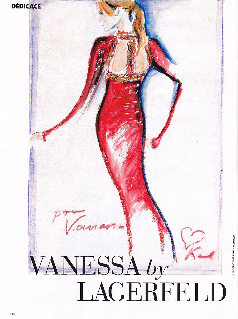 A sketch of Vanessa in a funky red dress drawn by Karl.