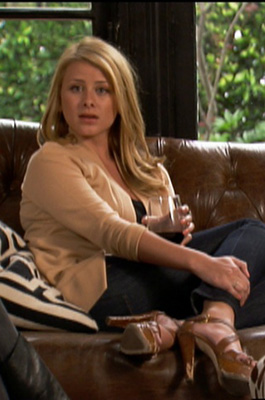 Lo Bosworth Wears Tan Cardigan and Tan Platforms on The Hills