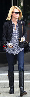 January Jones Wears Madewell Blazer and Chanel Bag