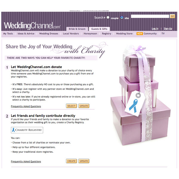 Charity Registry by WeddingChannel.com