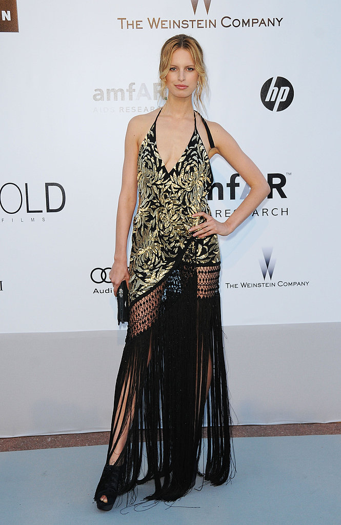 Karolina Kurkova stepped it up once again in gold and black Marchesa. Absolutely killer fringe!