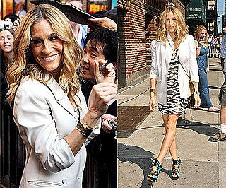 Sarah Jessica Parker in NYC Wearing Sequined Zebra Dress, White Blazer, and Nicholas Kirkwood Sandals