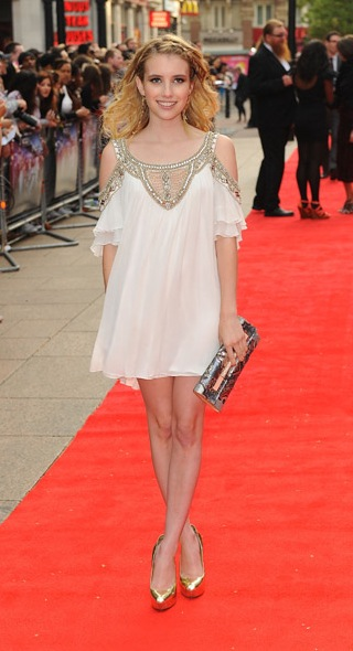Emma Roberts Wearing a White and Gold Temperley London Dress