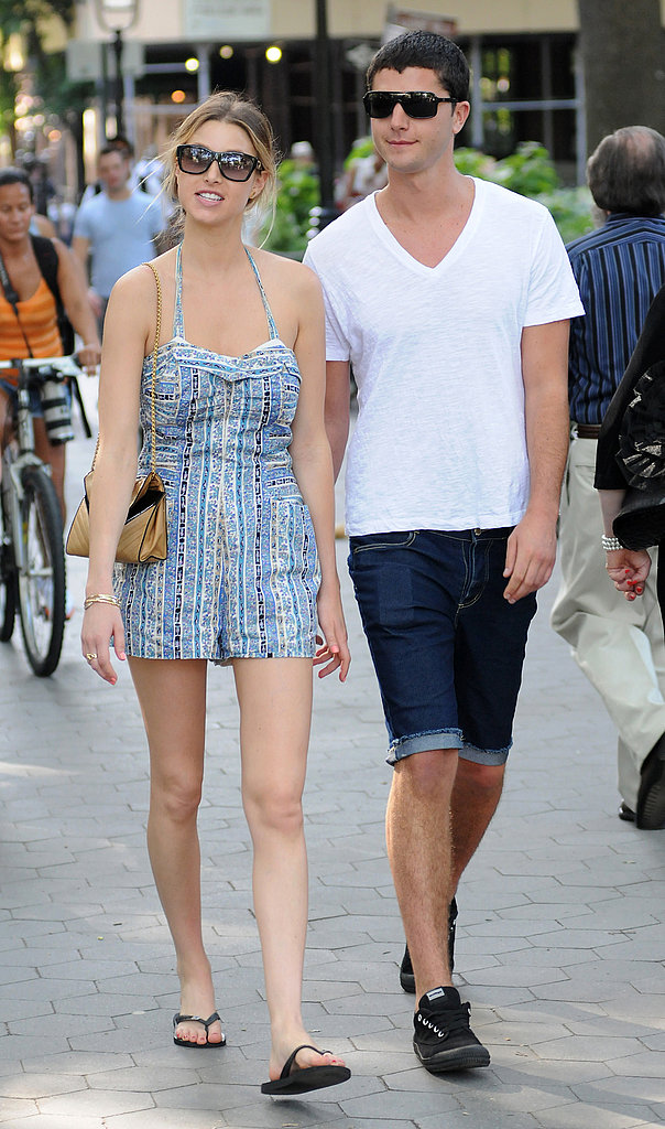 Whitney Port took a stroll in NYC with boyfriend Ben Nemtin wearing a quirky cute halter romper and flip flops. Digging Ben's outfit, too!