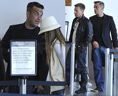Pictures of Robbie Williams, Ewan McGregor and Ayda Field at LAX, Plus Lineup of Teams for Soccer Aid 2010