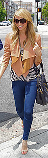 Stacy Keibler Wears Zebra Top and Tan Leather Jacket to Shop at Kitson