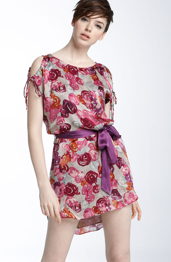 Seventy Two Changes Rose Print Silk Dress ($178)