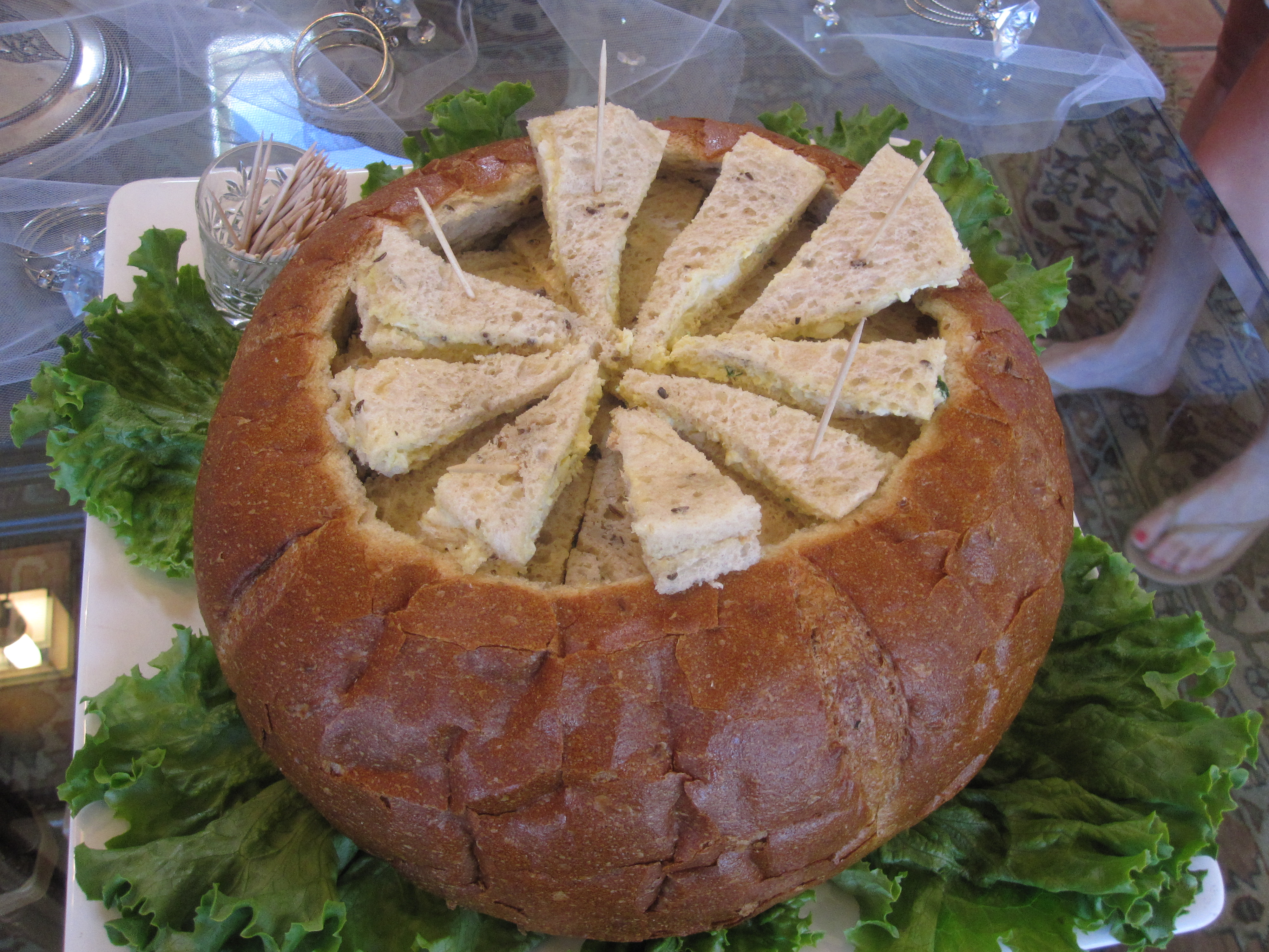 Delicate egg salad and diced mushroom sandwiches were placed inside a hollowed-out bread bowl. It made for a fun presentation.