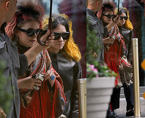 Pictures of Mary-Kate Olsen with Punk Pink Hair and Ashley Olsen With Bright Yellow Hair in Manhattan