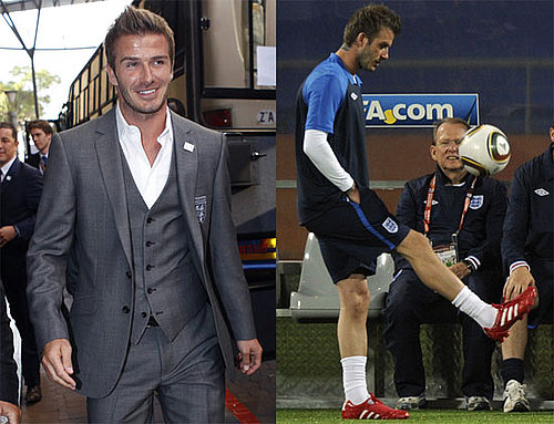 Pictures of David Beckham in a Suit and on the Field With England's Soccer Team