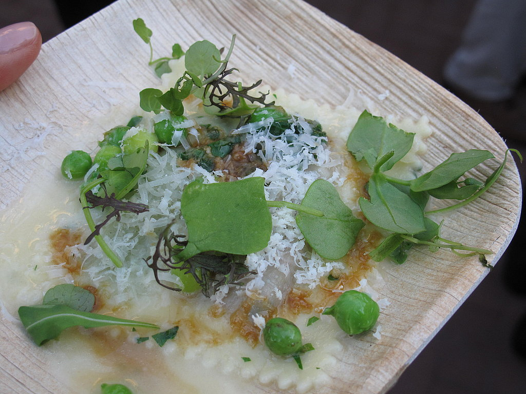Flour + Water's Thomas McNaughton made his famous ravioli doppio of pork and pea.