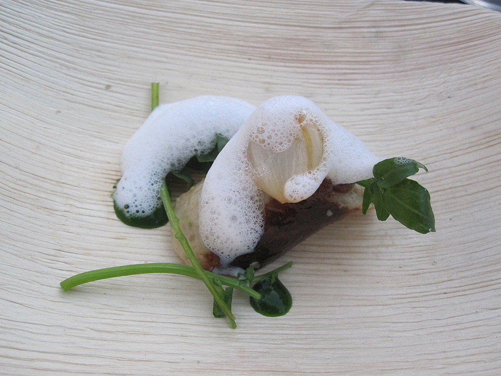 Manresa's John Paul Carmona chose a combination of boudin blanc, dates, and wild watercress.