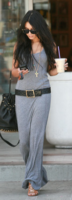 Vanessa Hudgens in Gray Belted Dress With Alexander Wang Bag