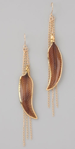 Bop Bijoux Brown Feather Earrings ($98)