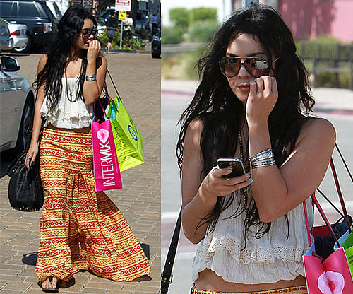 Vanessa Hudgens Wearing Orange Boho Black Label Skirt 2010-06-28 10:08:22