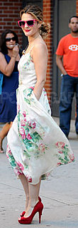 Drew Barrymore Wears Floral Dress and Pink Sunglasses in NYC
