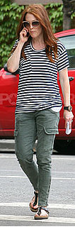 Julianne Moore Wears J Brand Cargo Pants and Striped Tee