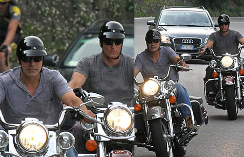 George Clooney and Woody Harrelson Ride Motorcycles in Lake Como