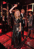 Dree Hemingway's metallic maxi is so Studio 54; so fun to see her shaking her groove thing.