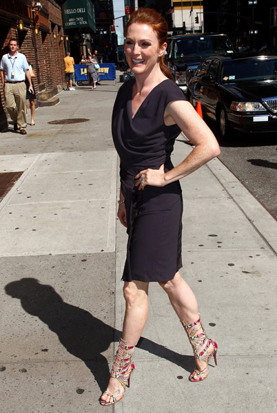 Julianne's Helmut Lang fold layer LBD is cool, but those wild heels are out of this world.