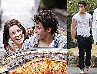 Pictures of Nick Jonas and Lucie Jones at Water Park in England