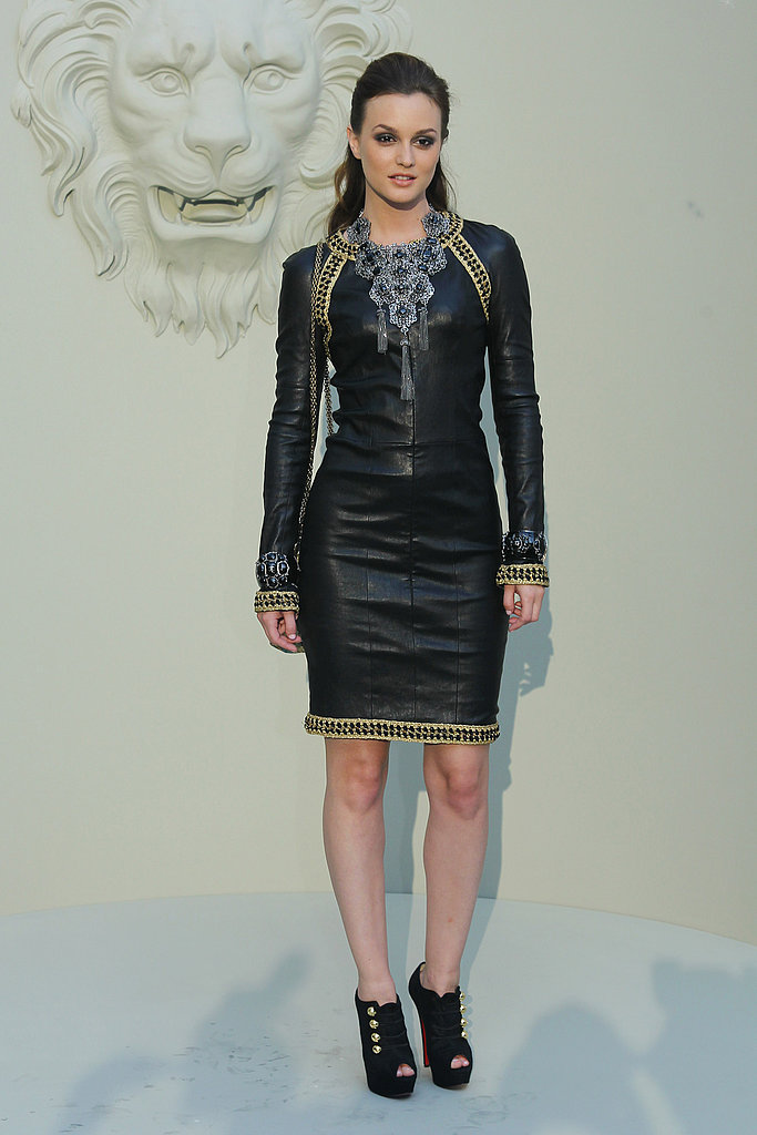 Leighton Meester in a leather frock from Chanel.