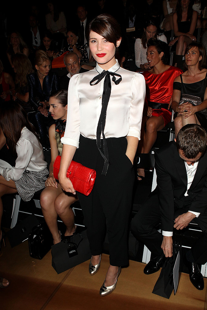 Gemma Arterton in black, white, and red at Armani Prive show.