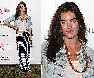 Hilary Rhoda Wearing Striped Maxiskirt and Acid Wash Denim Jacket