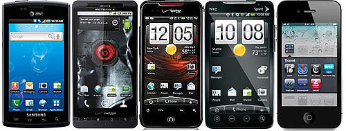 Droid X vs. Droid Incredible vs. Samsung Captivate vs. HTC EVO 4G vs. iPhone 4