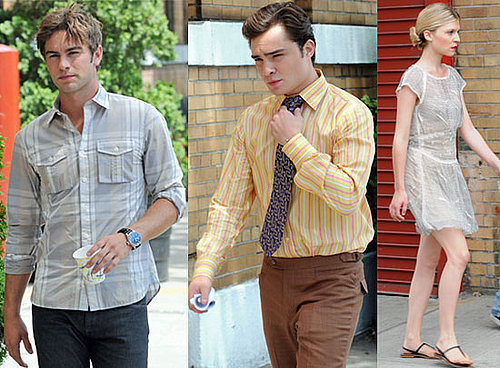 Pictures of Chace Crawford, Ed Westwick and Clemence Poesy in NYC Filming Gossip Girl