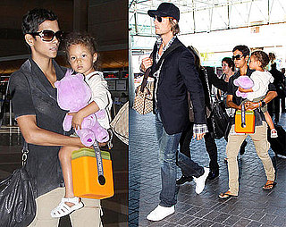 Pictures of Halle Berry, Nahla Aubry, and Gabriel Aubry at LAX