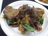 This rosemary and red wine marinated lamb was delish, but the heirloom tomato panzanella overshadowed the lamb. I wanted to eat the salad and not the lamb.