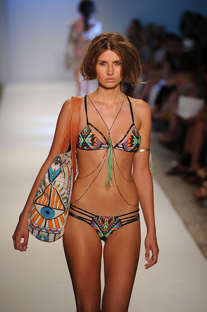 Mara Hoffman acid print, slinky body chains, and neon feathers!