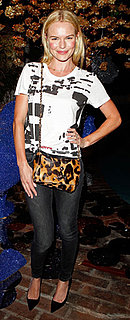 Kate Bosworth Wears Graphic Tee and Leopard Bag to Mulberry Party
