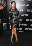 Zoe in beaded Pucci at the Star Trek premiere in LA.