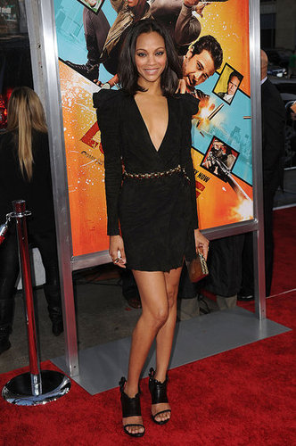 Zoe in suede Balmain at the Losers premiere in LA.