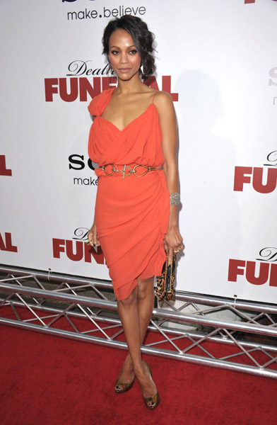 Zoe Saldana in orange Lanvin at the Death at a Funeral premiere in LA — get a similar look.