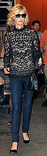 January Jones Wears Black Lace Top in NYC