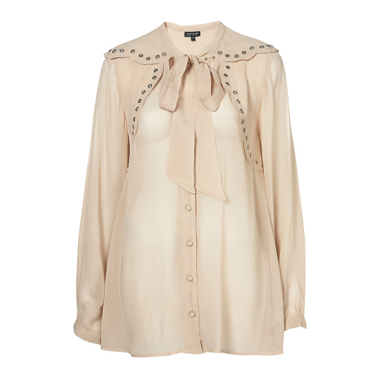 Eyelet Scallop Pussybow Blouse, approx $77 from Topshop