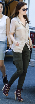 Leighton Meester Wearing Derek Lam Shoes and Cargo Pants