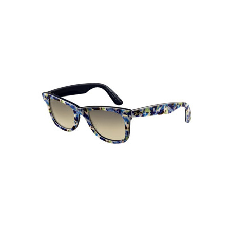 Floral Print Wayfarer in Blue, approx $205, Ray-Ban from Blue & Cream