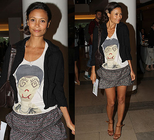 Pictures of Thandie Newton Wearing Isabel Marant Skirt in NYC
